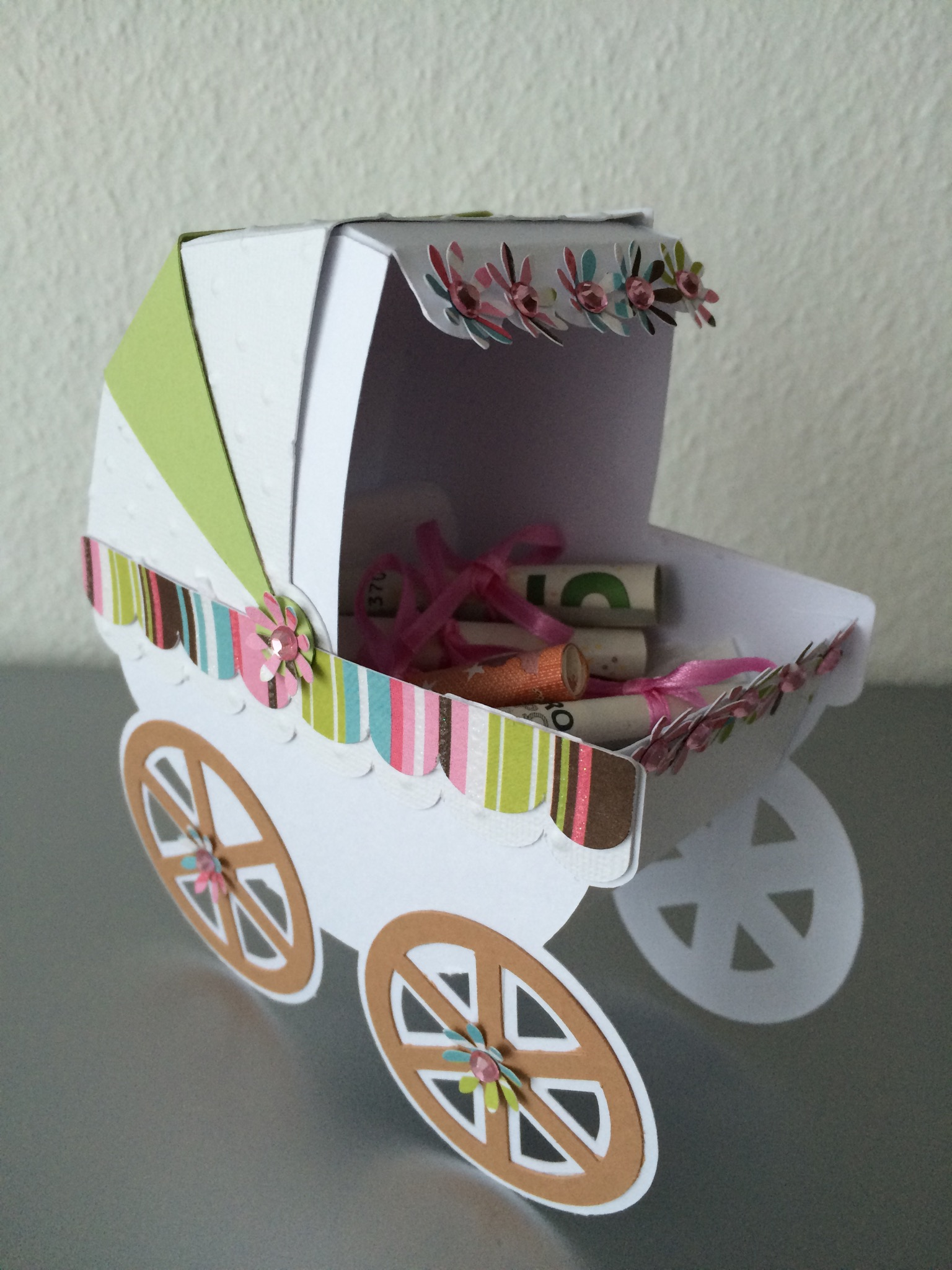 Geldgeschenk Taufe Kinderwagen In 3d Butterflycards