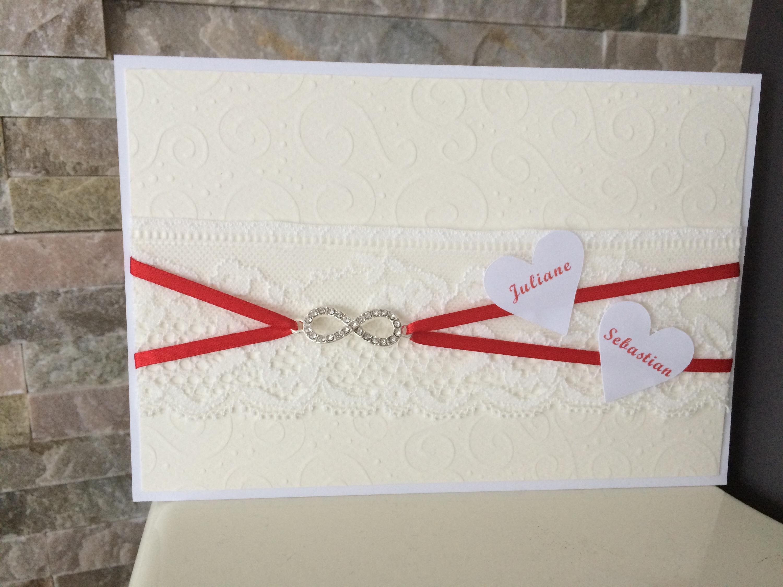 einladung hochzeit *spitze* *rot* – butterflycards, Einladung