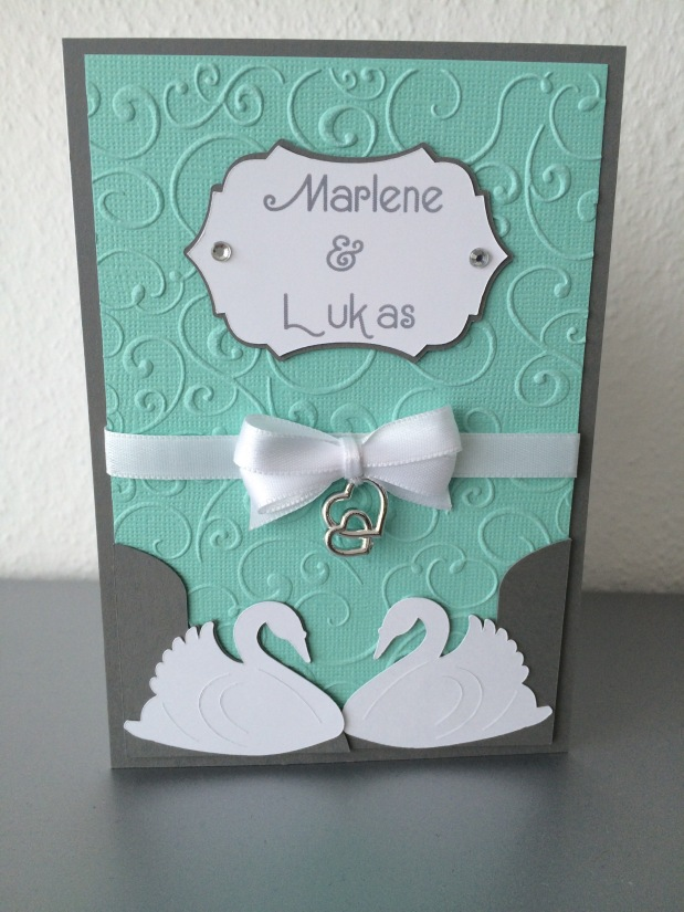 Einladung Hochzeit Schwan *grau / aquamarin*