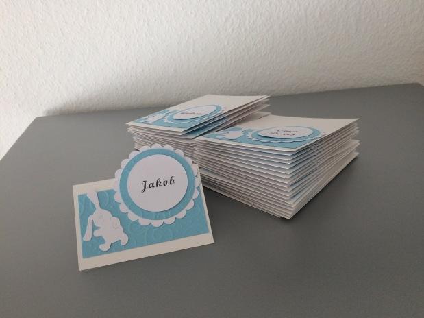Taufe Junge Namenskärtchen / Tischkarten