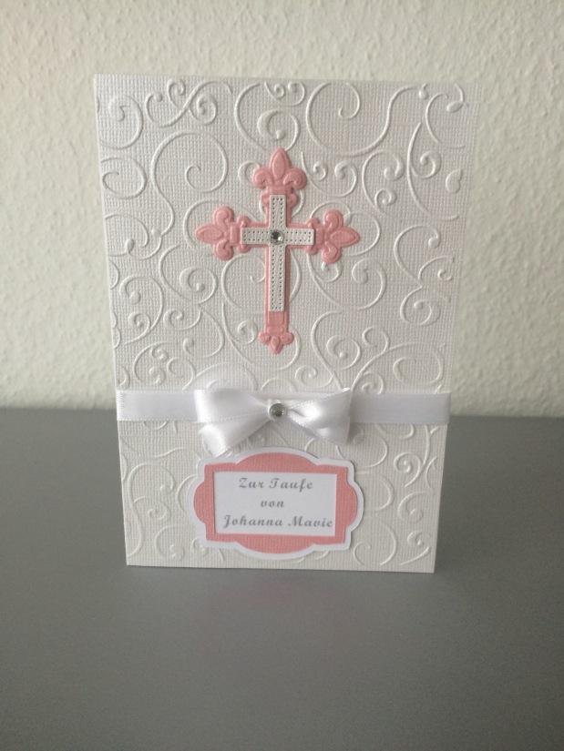 Karte zur Taufe Mädchen / Einladung*weiss/rosa*