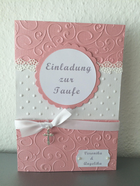 Einladung Taufe Mädchen Zwillinge Entwurf Butterflycards