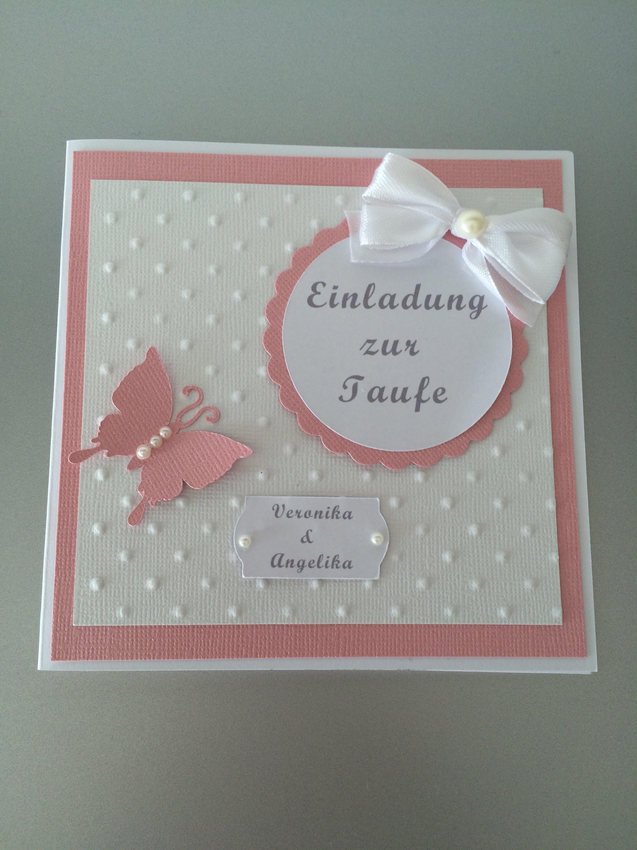 Einladung Zur Taufe Mädchen Rosa Butterflycards