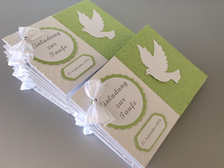Einladung Taufe Junge Mädchen Grün Butterflycards
