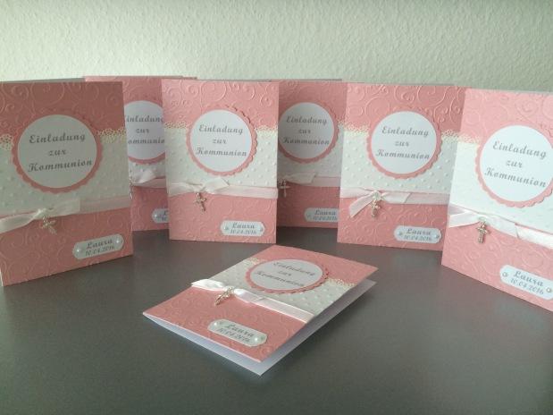 Einladung zur Kommunion *Mädchen*rosa