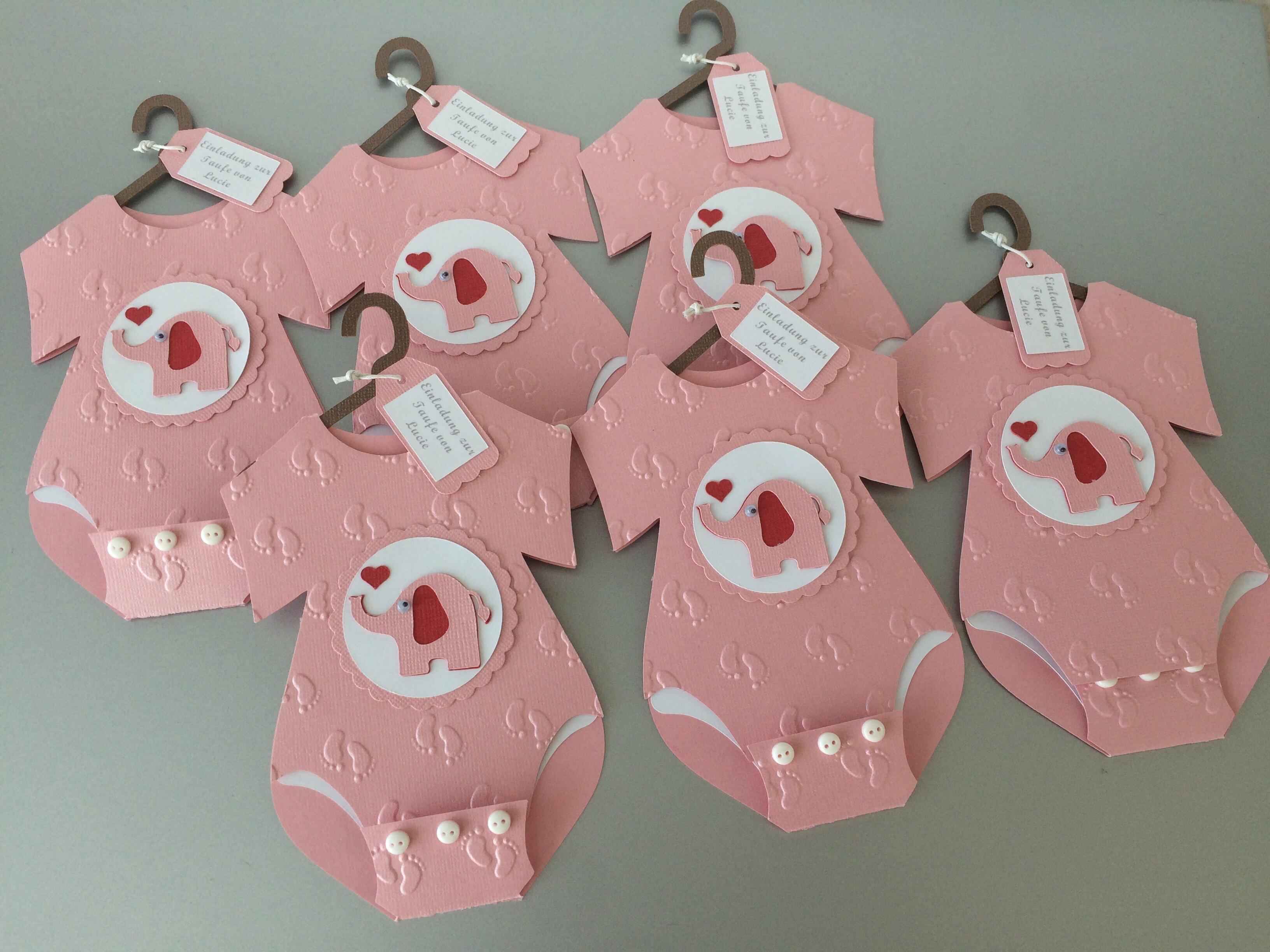 Einladung Taufe Baby Body Elefant Mädchen Butterflycards