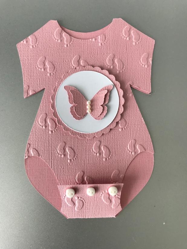 Babybody Karte MädchenSchmetterling
