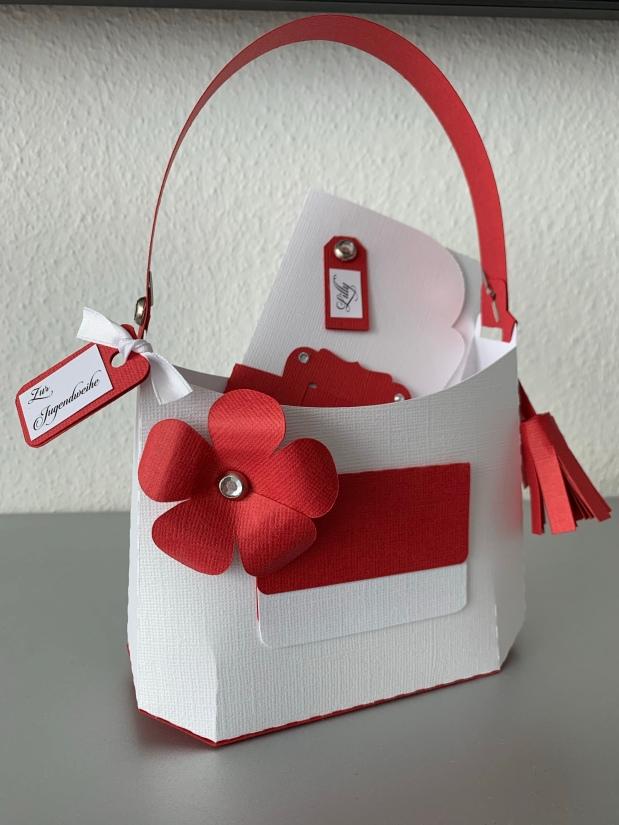 Tasche Geldgeschenk rot /weiß